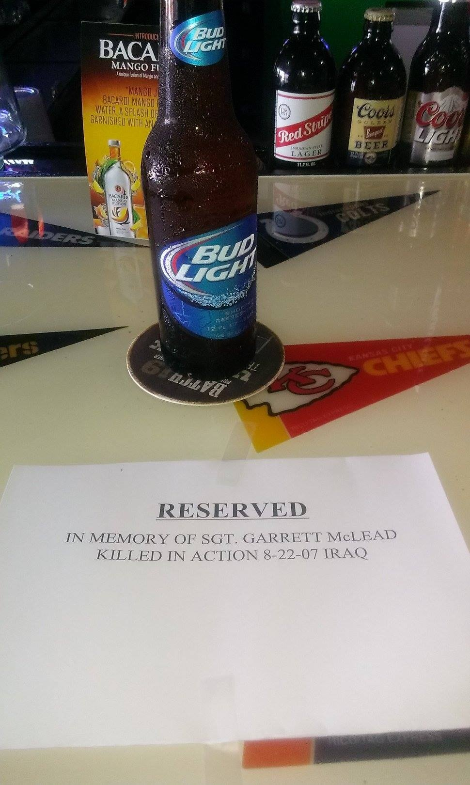 A friend was at a bar. A guy walked in, paid for a beer, set this on the counter and walked out.