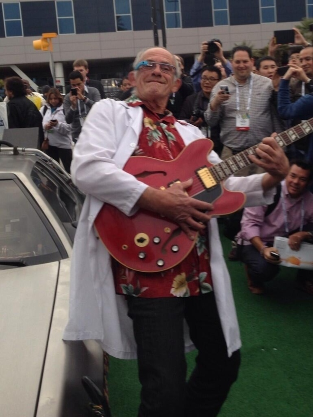 Christopher Lloyd Wore Google Glass While Standing Next To The DeLorean