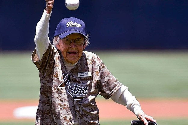 This 105-Year-Old Woman Threw Out A Better First Pitch Than 50 Cent