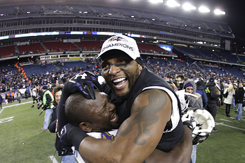 Ray Lewis Cuddles His Boss, Gets Caressed, Weirds Out His Teammate