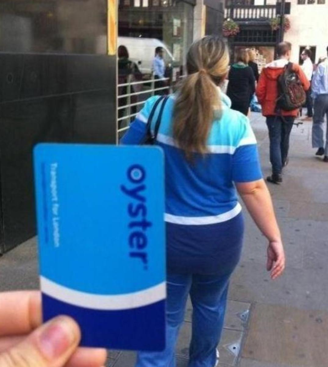 That awkward moment when you're dressed like an Oyster card