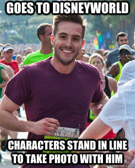 Goes to Disneyworld characters stand in line to take photo with him