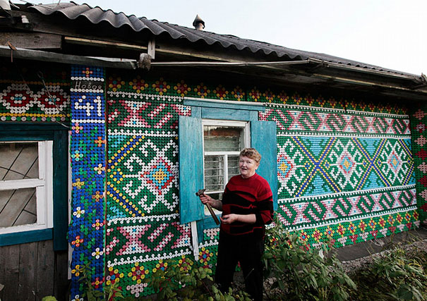 Russian Pensioner Decorates her House with 30,000 Bottle Caps