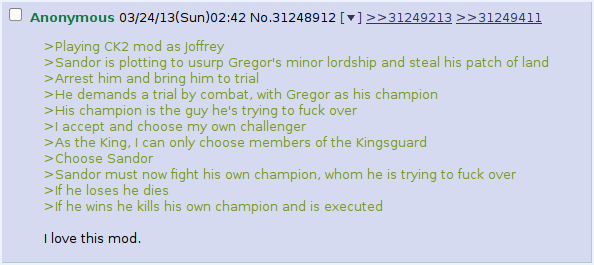 A hilarious situation that arised in the Crusader Kings II GoT mod