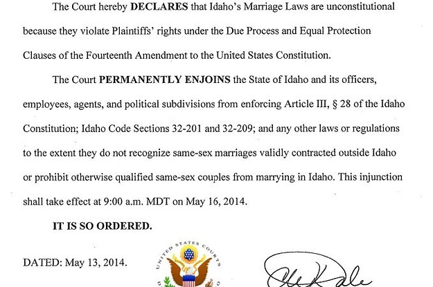 Federal Magistrate Judge Strikes Down Idaho Same-Sex Marriage Ban