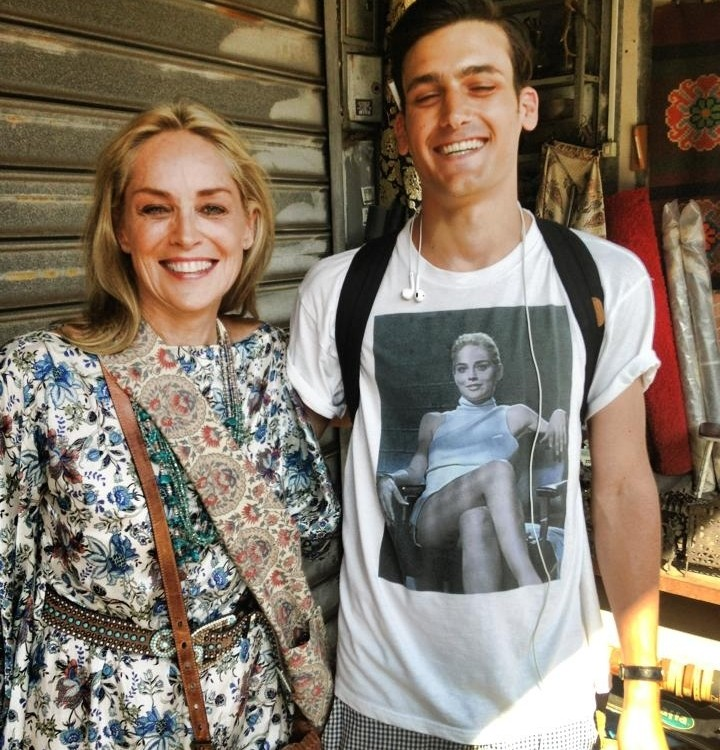 Guy Runs Into Sharon Stone While Wearing A Shirt With Her On It