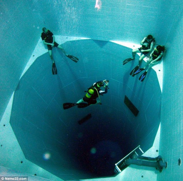 World's deepest swimming pool. It's 113ft deep and contains more than 600,000 gallons.