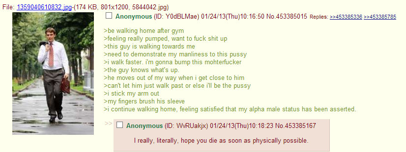 Anon walks home from the gym