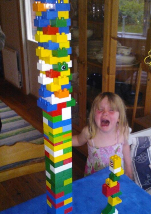 """Well, don't say you want a Lego tower tournament if you can't handle loosing..."""