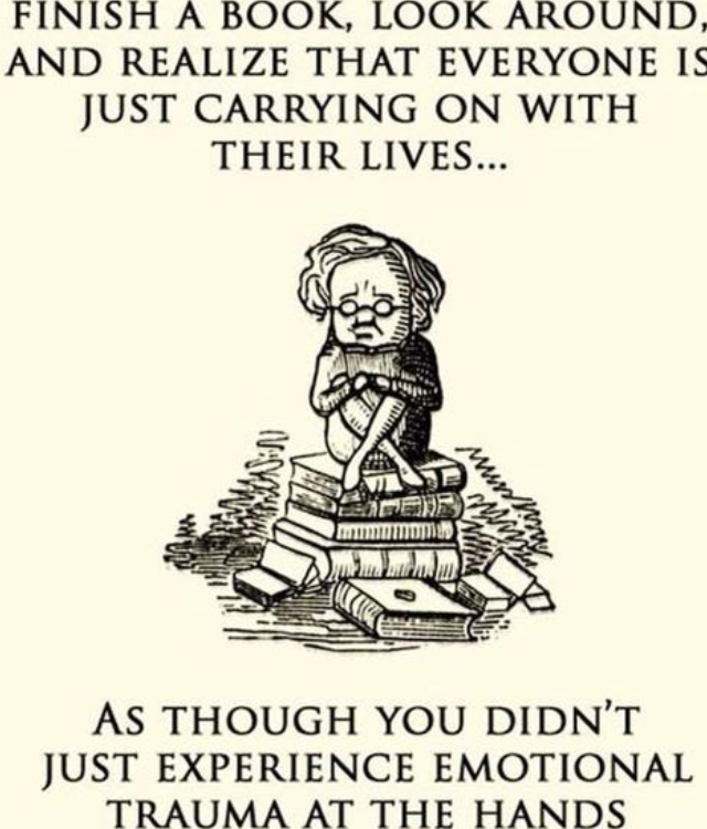 How I felt after each book the first time I read them...