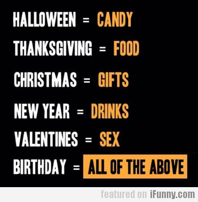 Candy, Food, Gifts, Drinks Or Sex?