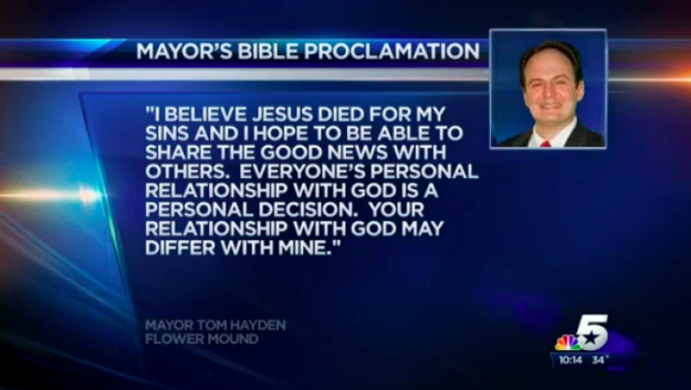 "Texas Mayor Declares 2014 Will Be His Town's ""Year Of The Bible"""