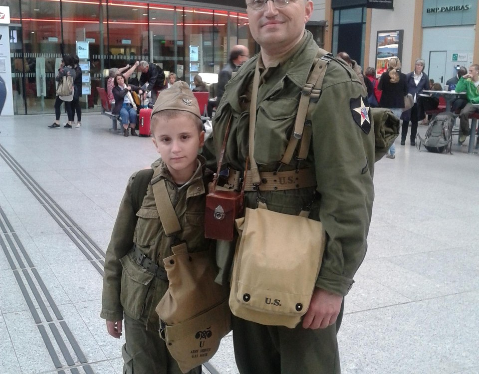 Met these two in a Parisian train station on their way to Normandy, for the 70 years D-Day memorial. respect.