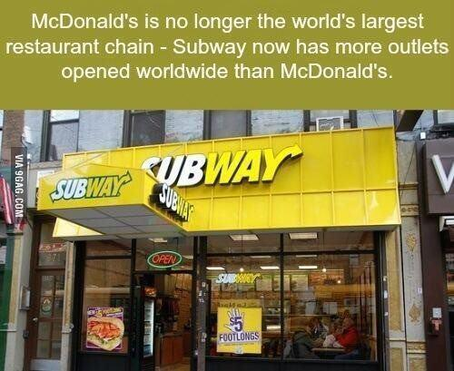 Interesting fact about McDonald's and Subway