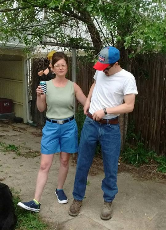 Friend of mine had a King of the Hill themed party. She nailed Peggy.