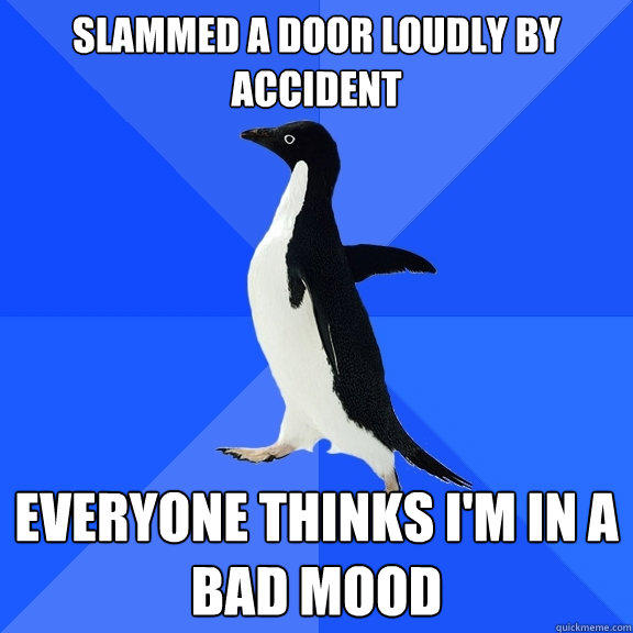 Slammed a door loudly by accident Everyone thinks I'm in a bad mood