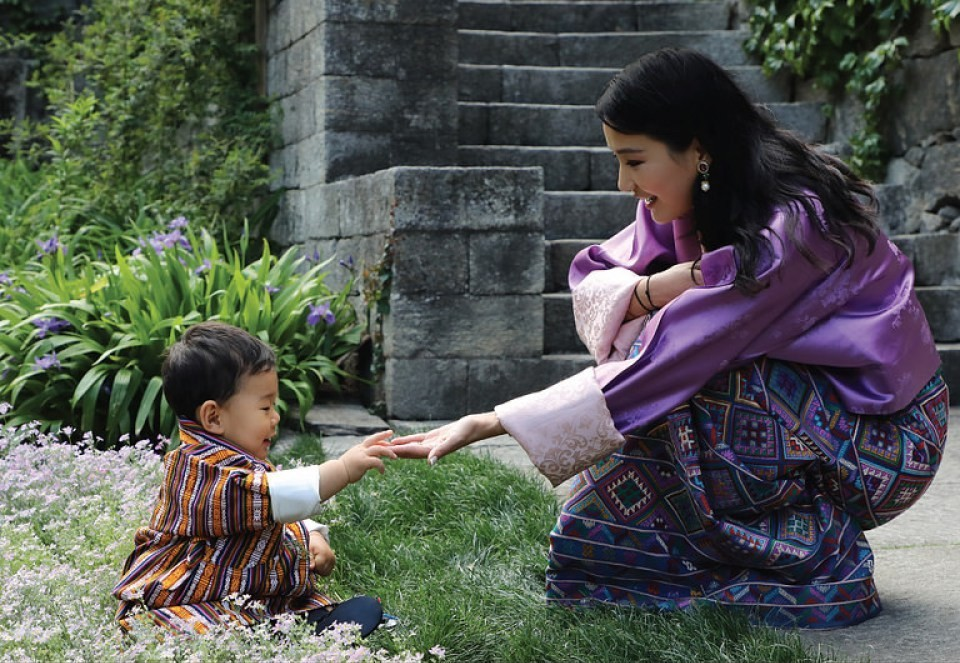 The Crown Prince of Bhutan with his Mother, The Queen.